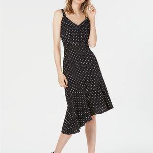 Polka-Dot Asymmetric-Hem Fit & Flare dress